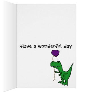 気球を握っているTrexのおもしろいな緑の恐竜 カード