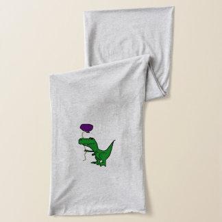 気球を握っているTrexのおもしろいな緑の恐竜 スカーフ
