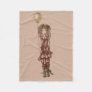 気球を握る女の子のかわいくお洒落な漫画 フリースブランケット