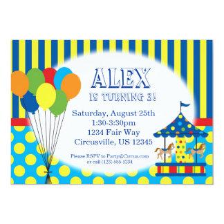気球、回転木馬、カーニバルのサーカスの誕生会 カード