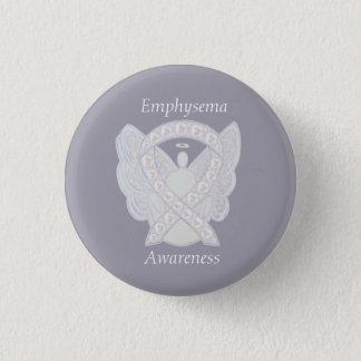 気腫の認識度の天使の真珠のリボンのカスタムPin 3.2cm 丸型バッジ