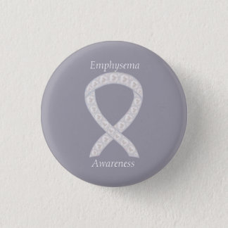気腫の認識度の真珠のリボンのカスタムPin 3.2cm 丸型バッジ