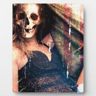 気色悪いアメリカの女の子のスカルの骨組 フォトプラーク