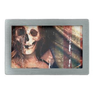 気色悪いアメリカの女の子のスカルの骨組 長方形ベルトバックル
