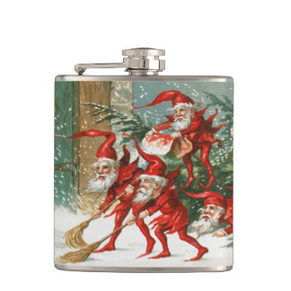 気色悪いヴィンテージの小妖精や小人のクリスマスのビニールのフラスコ フラスク