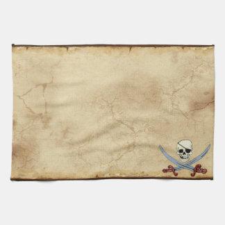 気色悪い海賊スカル及び交差させたカットラス キッチンタオル