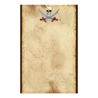気色悪い海賊スカル及び交差させたカットラス 便箋