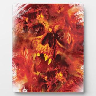 気色悪い火の地獄のWellcodaの恐いスカル フォトプラーク