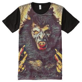 気色悪い狼人間の雑種の暗い恐怖芸術 オールオーバープリントT シャツ