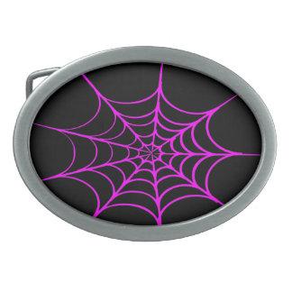 気色悪い蜘蛛の巣(黒い及びショッキングピンク) 卵形バックル