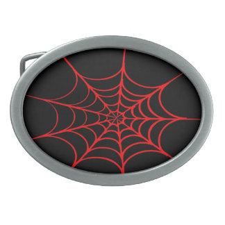 気色悪い蜘蛛の巣(黒及び赤) 卵形バックル