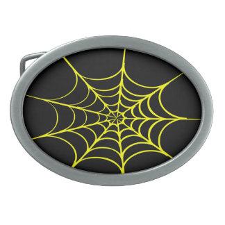 気色悪い蜘蛛の巣(黒及び黄色) 卵形バックル