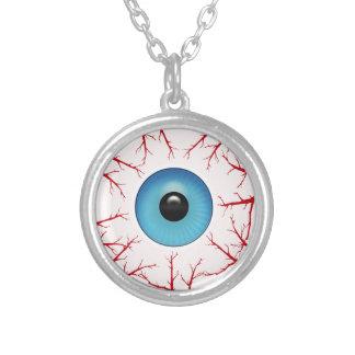 気色悪いBloodshot青い眼球ハロウィン シルバープレートネックレス