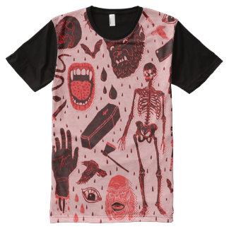 気色悪くクラシカルなハロウィンの恐怖芸術 オールオーバープリントT シャツ