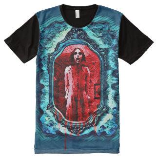 気色悪く幽霊のよく出るな血メリーの暗い恐怖芸術 オールオーバープリントT シャツ