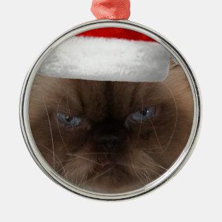 気難しいクリスマス猫 メタルオーナメント