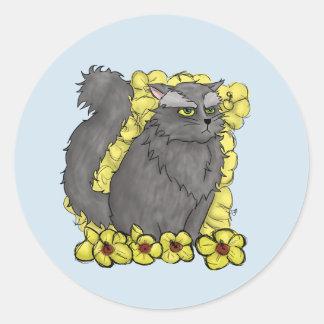 気難しい子猫の円形のステッカー ラウンドシール