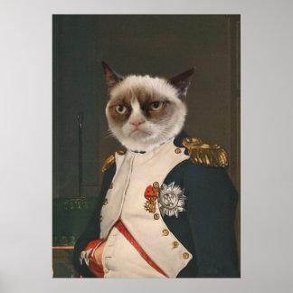 気難しい猫のクラシックな絵画 ポスター