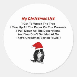 気難しい猫のクリスマスの円形のステッカー ラウンドシール