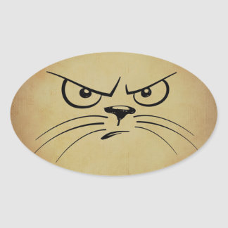 気難しい猫の楕円形のステッカー 楕円形シール