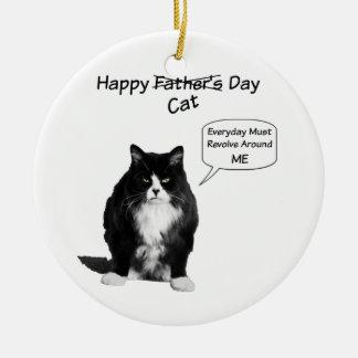 気難しい猫の父の日の円形のオーナメント セラミックオーナメント