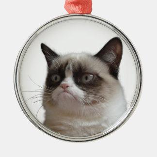 気難しい猫の「気難しいまぶしさ」のクリスマスのオーナメント メタルオーナメント