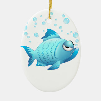 気難しい魚の漫画 セラミックオーナメント
