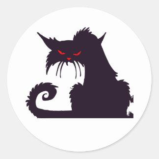 気難しい黒猫のステッカー ラウンドシール