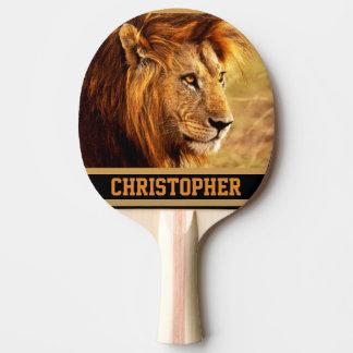 気高いライオンの写真 卓球ラケット