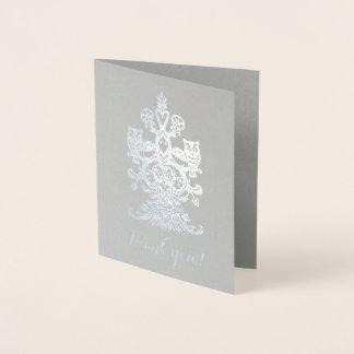 気高い灰色の銀製の王室のなフクロウありがとう 箔カード
