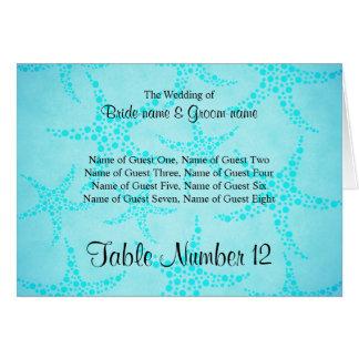 水およびターコイズのヒトデの結婚式 ノートカード