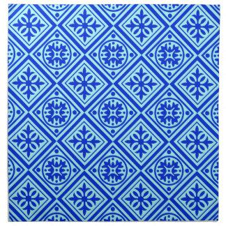 水およびロイヤルブルーのアールデコのモダンな布のナプキン ナプキンクロス