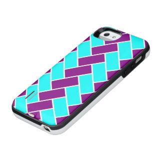 水および紫色のヘリンボン iPhone SE/5/5sバッテリーケース