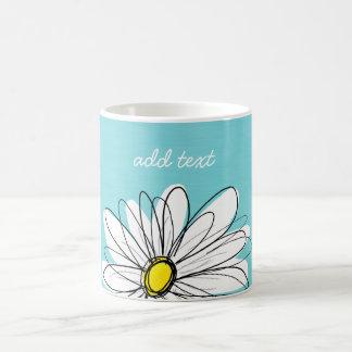 水および黄色のお洒落なデイジーのカスタムの文字 コーヒーマグカップ