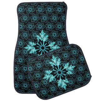 水および黒い花パターン カーマット