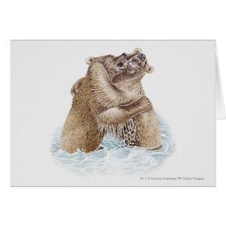 水で戦っている2匹のヒグマのイラストレーション カード