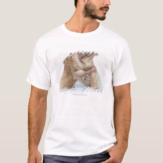 水で戦っている2匹のヒグマのイラストレーション Tシャツ