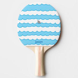 水におもしろいでお洒落で名前入りな鮫のひれ 卓球ラケット