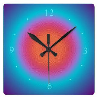 水によって照らされるオレンジピンクのデザイン>柱時計 スクエア壁時計