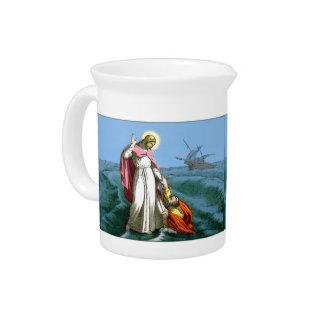 水にイエス・キリストの歩く ピッチャー