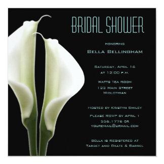 水のオランダカイウのユリのブライダルシャワーの招待状 カード
