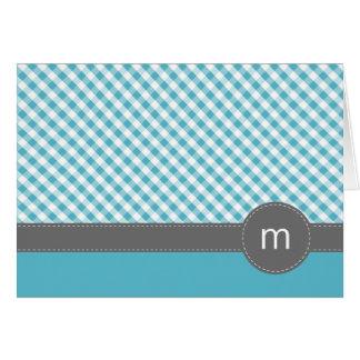 水のギンガムのパターンによって折られるメッセージカード カード