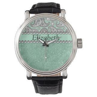 水のグリッターのペイズリーのラインストーンのプリントパターン 腕時計