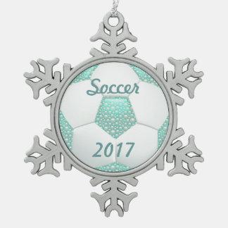水のサッカーボールの白い真珠 スノーフレークピューターオーナメント