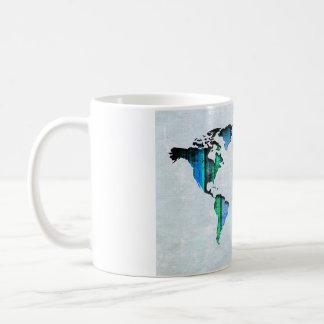 水のストライプな地図 コーヒーマグカップ