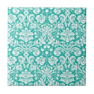 水のターコイズのティール(緑がかった色)のダマスク織パターン タイル