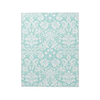 水のターコイズのティール(緑がかった色)のダマスク織パターン ノートパッド