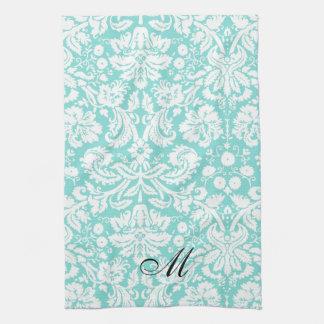 水のダマスク織の花のモノグラムタオル キッチンタオル