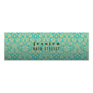 水のバロック式の壁紙の美容師の細いカード スキニー名刺