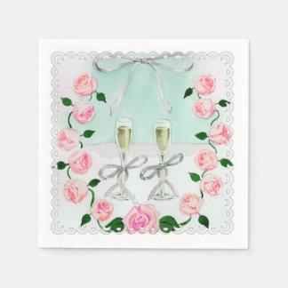 水のピンクの水彩画のバラおよびシャンペン スタンダードカクテルナプキン